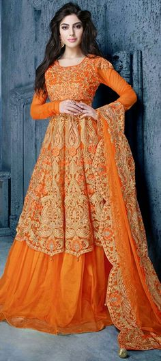 Net, Machine Embroidery, Resham, Stone, Zari, Thread. #Anarkali #Gown