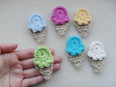 PDF PATTERN  crochet applique ice creams  UK by YellowSherbet