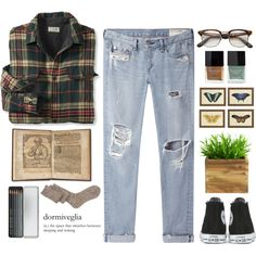 Button Up by emc1397 on Polyvore featuring polyvore, fashion, style, rag & bone/JEAN, ASOS, Converse, Butter London and Caran D'Ache