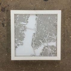 San Francisco City Map 12 x 16 Laser Cut Map Framed Map frame