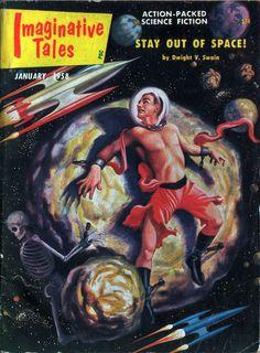 """Imaginative Tales"", Jan 1958 | Male-Centric Pulp Art Illustration"