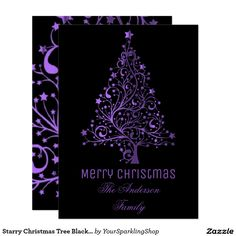 Starry Christmas Tree Black Purple Metallic Look  #ChristmasCard