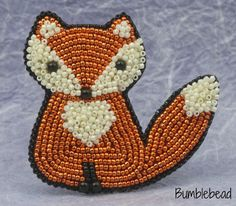 Little Fox Brooch Tutorial A Bead Embroidery от BumblebeadCrafts
