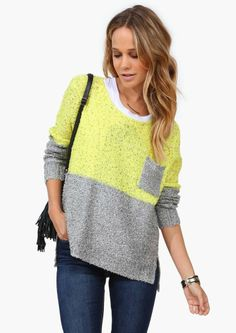 Comfy grey & yellow sweater.