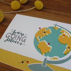 You're Going Places Aqua and Mustard Globe by anopensketchbook, $17.00