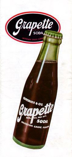 Ad for Grapette soda circa 1950s. Many of the drinks of the time came in 6 to 8 ounce bottles. Now we have the 2 ltr bottle :-)