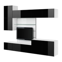 BESTÅ TV panel with media storage - white/high gloss black - IKEA