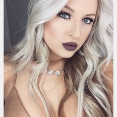 Love her cool blonde hair and dark lip color! Makeup Tips, Beauty Makeup, Hair Beauty, Full Makeup, Kiss Makeup, Hair Makeup, Eye Makeup, Eyebrow Growth Oil, Cool Blonde