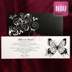 Invitatie ce combina nonculorile alb si negru. Plicul propriuzis al invitatiei este negru cu insertii florale si doi mici fluturasi; in partea dreapta un fluturas lacuit partial, imbina elegant cele doua componente ele invitatiei: plicul negru si cartonul unde se personalizeaza  textul invitatiei. Plicul este inclus in pret.  Pret tiparire:  0.35 lei/buc – negru  0.49 lei/buc – color  0.80 lei/buc – auriu, argintiu.#invitatie de #nunta #mirese #miri #invitatii #elegante #originale Floral, Florals, Flowers, Flower
