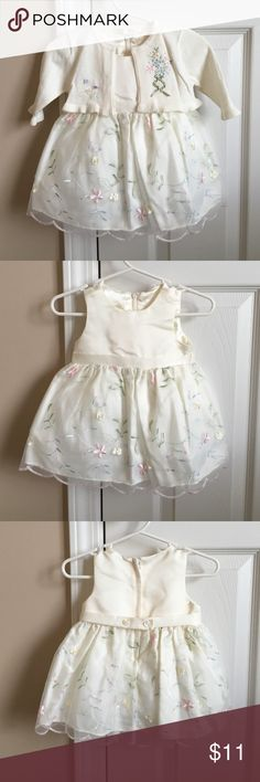 NWOT ivory floral dress and cardigan Never worn! Ivory dress with satin bodice and crinoline underlay in skirt. Zipper back. Includes matching cropped cardigan with hook and eye closure. 10% off bundles. American Princess Dresses Formal