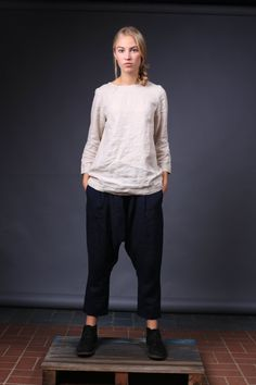 Natural linen blouse, Plus Size Linen Clothing, Longer sleeves, Linen top