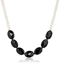 Black Onyx and White Freshwater Cultured Pearl Strand Necklace, 16' with 2' Extender * You can find more details by visiting the image link.