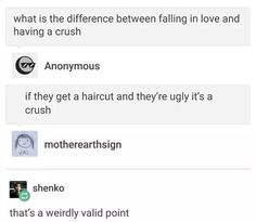The difference between falling in love and having a crush funny pics, funny gifs, funny videos, funny memes, funny jokes. LOL Pics app is for iOS, Android, iPhone, iPod, iPad, Tablet