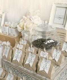 Favor Favorites - Coffee Bar Wedding Favors via Paper Girl Crafts Coffee Wedding Favors, Coffee Favors, Tea Favors, Rustic Wedding Favors, Wedding Favor Bags, Unique Wedding Favors, Wedding Party Favors, Diy Wedding, Wedding Gifts