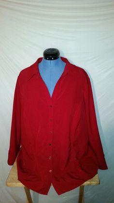 Womens Dressbarn Red Long Sleeve Button Up Blouse 3X XXXL PLUS #dressbarn #ButtonDownShirt