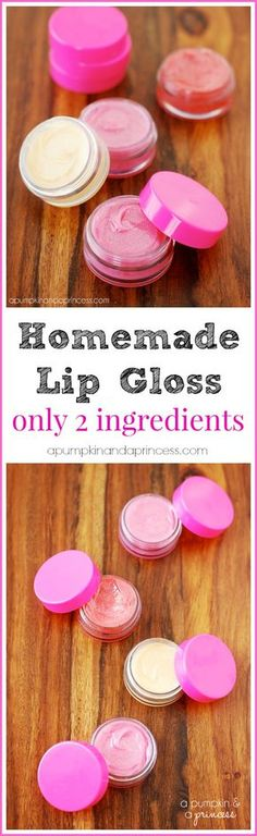 DIY Lip Gloss Tutorial - only 2 ingredients! Fun activity to do with girls. Party ideas.