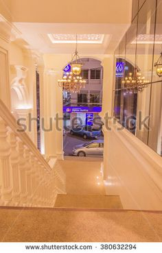 Phuket, Thailand - Jan 29, 2016 : Stair leading to ground floor of Kasikorn bank  with Sino-portuguese architectural style. It is well-known destination for tourist as it is very beautiful. - stock photo