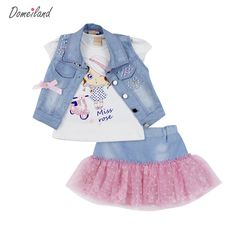09ec0bd887d 2017 fashion domeiland summer children clothing sets girl Denim short vest  jackets cotton kids cartoon tops skirt suits clothes