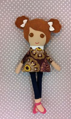 Custom Fabric Doll - Light Brown hair - Brown Eyes - LOVED - Cloth Doll