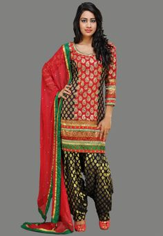 Red and Navy Blue Faux Georgette Readymade Patiala Suit Online Shopping: KQX22