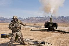 https://flic.kr/p/e4RZFn | Howitzer training | Sgt. 1st Class Fredrick Edwards fires a D-30 Howitzer at Kabul Military Training Center, Afghanistan, March 19, 2013. These test fires are the final step for this refurbished artillery weapon. U.S. Air Force photo by Tech. Sgt. Joseph B. Prouse
