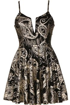 Metallic Paisley Dress: Features a hard wired plunging neckline, cinched waist for a ladylike silhouette, lustrous metallic gold paisley print drizzled atop a black foundation, and a twirl-worthy skater skirt to finish.