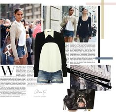 """""""Street style: cropped sweater!"""" by minnie-me on Polyvore"""