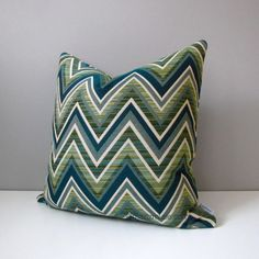 Jade Green Outdoor Pillow Cover Olive Green & Blue Chevron