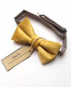 7de41811539e Mustard yellow velvet men's bow tie. #mustardyellow #mensbowties  #2019wedding Mustard Yellow Wedding