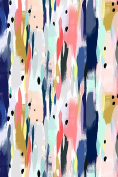 Illumination by crystal_walen - Colorful abstract painterly design in peach, blue, gold, black, and yellow on fabric, wallpaper, and gift wrap. Colorful paint strokes and dots to brighten your home.