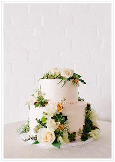 botanical wedding cake with succulents