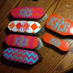 Set of 6 Hand Painted Horse Grooming Brushes by GrayandCoDesigns, $160.00