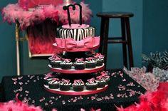 Art Pink and Zebra Print Birthday Cake  Cupcakes by TheHappyCake, via Flickr audreyanna-1st-bday