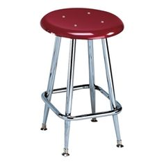 """School Stools - 300 Series Solid Plastic Stool – Fixed Height (18\"""" H) - Burgundy seat"""