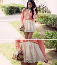 mint, coral, and lace all in one outfit. ♥