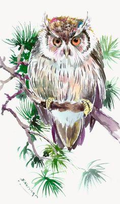 Owl artwork, original one of a kind watercolor owl illustration