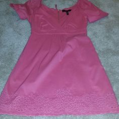 Bcbg Pink Summer Dress on Sale Hot Pink Cotton/Nylon Dress. Lined in the inside.  Detailing at the bottom, gold zipper in the back. Vcut neck and short sleeves. GREAT CONDITION,wore once. Perfect for Summer or Sprin BCBGMaxAzria Dresses