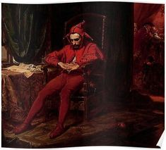 Stańczyk by Jan Matejko The jester is depicted as the only person at a royal ball who is troubled by the news that the Russians have captured Smolensk. This event happened in Stańczyk (c. was the most famous court jester in Polish history Medieval Jester, Almeida Junior, Rennaissance Art, Portrait, Court Jester, Arte Horror, Classical Art, National Museum, Oil Painting On Canvas