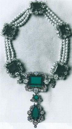 Queen Margherita's Emerald Pearl And Diamond Necklace