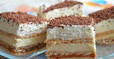 recept na nepečené smetanové řezy se sušenkami a karamelem