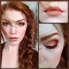 .@Elena Barrionuevo | Today's hair and makeup. Peach, warm brown and golden tones, and a pinned tog... | Webstagram - the best Instagram viewer