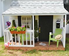 Easy DIY Kids Playhouse. Complete tutorial, step-by-step pictures, materials list, cut list and detailed instructions. Beautiful Playhouse for kids. #gardenplayhouse