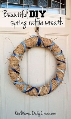 DiY spring raffia wreath with yarn from One Mama's Daily Drama --- specialty yarn craft, no-sew project, seasonal craft, holiday ideas, Easter, Mother's Day, First day of Spring, front door decor