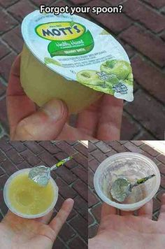 Forgot a spoon? I'm so glad I saw this a while back...Re-pinning because I had to do this the other day for my niece and it actually worked. Genius!!