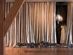 Classic Wood Furnishing Ideas from A House in The Netherlands: Nute Bold Of Curtain Which Open Storage Of Clothes In Amsterdam Loft Given N. Amsterdam, Curtain Wardrobe, Curtain Closet, Closet Doors, Floor To Ceiling Curtains, Wall Design, House Design, Loft Design, Interior Styling