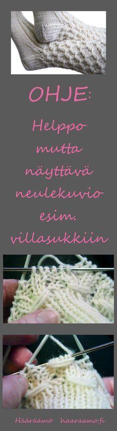Neuleohje: lyhde, smokkineule, rypytetty joustinneule - rakkaalla lapsella on… Lace Knitting, Knitting Stitches, Knitting Socks, Crochet Socks, Knit Crochet, Knitting Patterns, Crochet Patterns, Knitting For Charity, Yarn Crafts