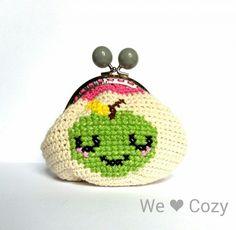 Blushing Apple purse crochet cross stitch – We Love Cozy