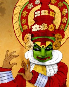 #Kathakali ,the classical dance form of #Kerala, with its vivid depiction of costumes and makeup is inspired by the life form of Krishna. A mutual admiration and a reason for us to be inspired.