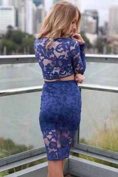 c4db720c8e 2pcs Blue Flower Lace Long Sleeves Skirt Set
