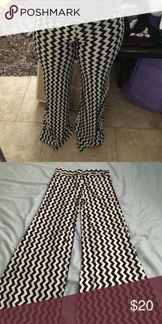 Flared Chevron Pants Stretchy material. Right at the top and then flare out at the bottom Pants Wide Leg